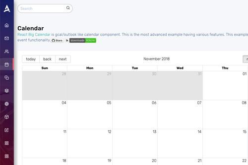 React Big Calendar.Apex React Redux Bootstrap 4 Admin Dashboard Template