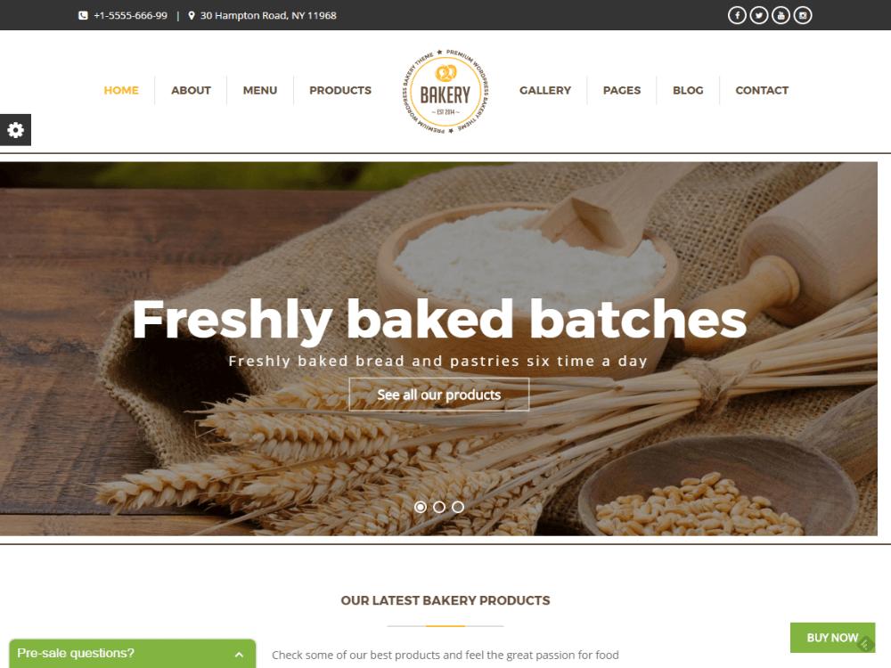 Bakery | WordPress Bakery, Cakery & Food Theme - Premium - Free Restaurant WordPress Themes