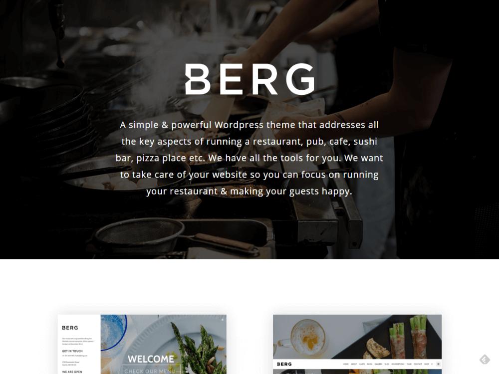 BERG - Restaurant WordPress Theme - Premium - Free Restaurant WordPress Themes