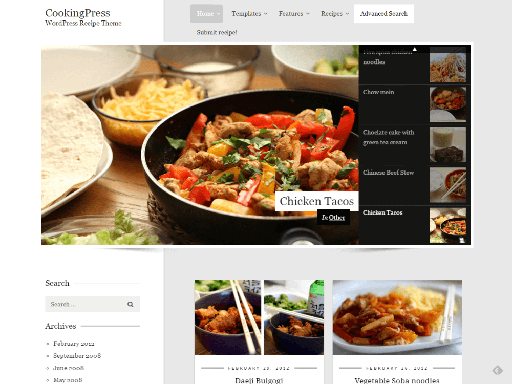 CookingPress - Recipe & Food WordPress theme - Premium - Free Restaurant WordPress Themes