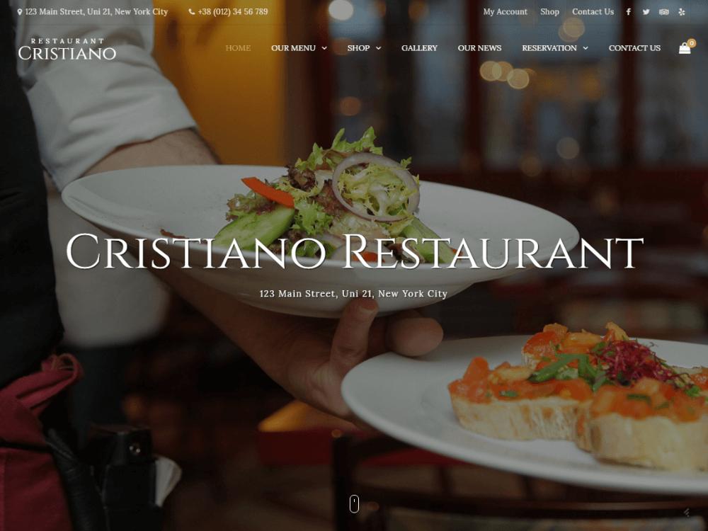 Cristiano Restaurant - Cafe & Restaurant WordPress WooCommerce Them - Premium - Free Restaurant WordPress Themes