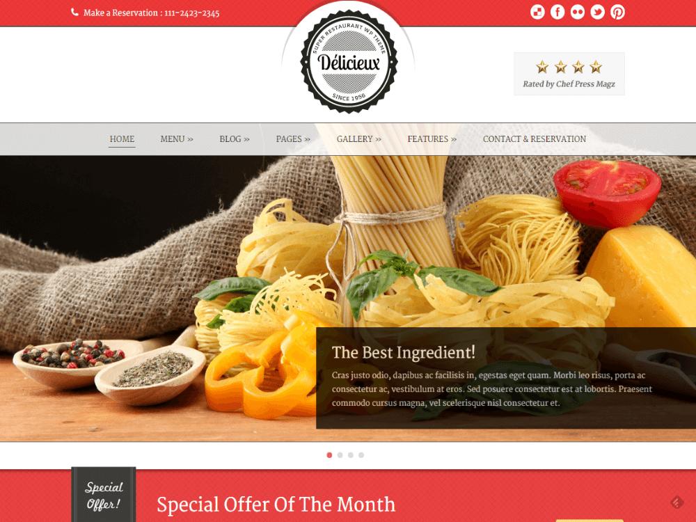Delicieux - Restaurant WordPress Theme - Premium - Free Restaurant WordPress Themes