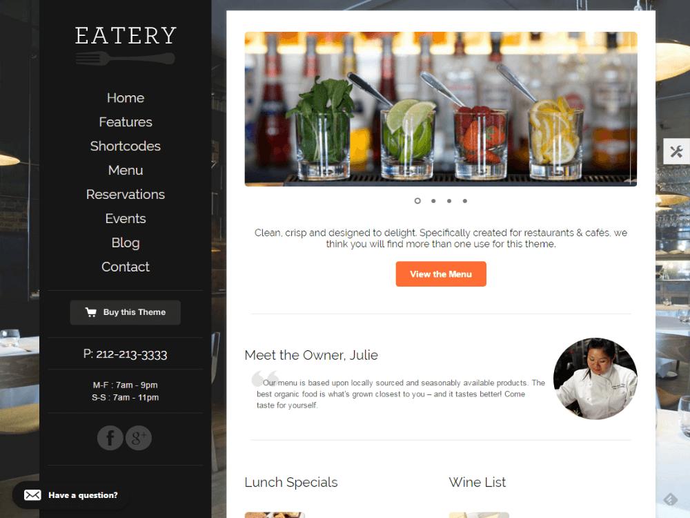 Eatery - Responsive Restaurant WordPress Theme - Premium - Free Restaurant WordPress Themes