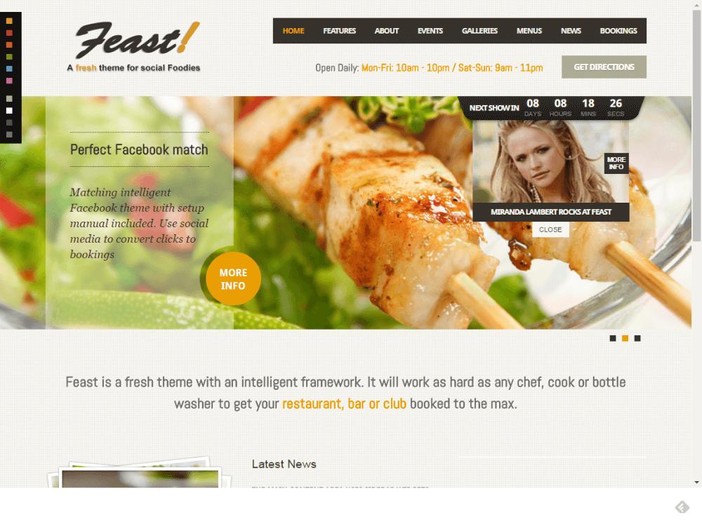 Feast - Facebook Fanpage & WordPress theme - Premium - Free Restaurant WordPress Themes