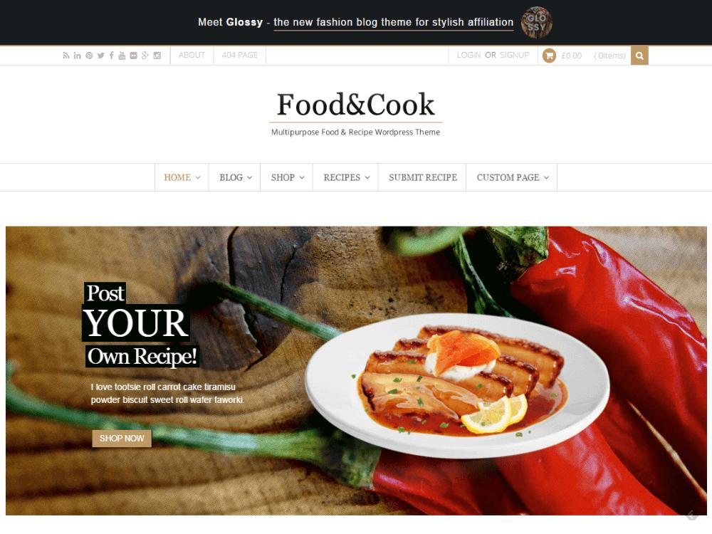 Food & Cook - Multipurpose Food Recipe WP Theme - Premium - Free Restaurant WordPress Themes
