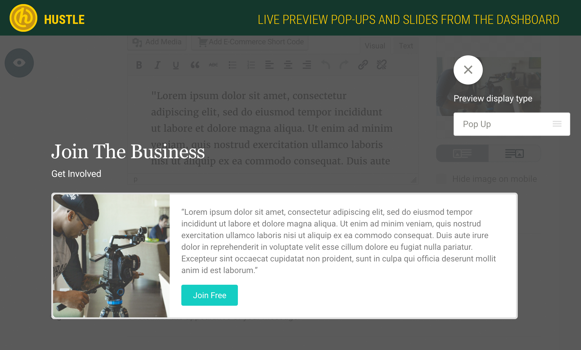 Hustle – Pop-Ups, Slide-ins and Email Opt-ins