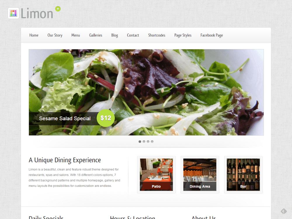 Limon - A Restaurant and Spa WordPress Theme - Premium - Free Restaurant WordPress Themes