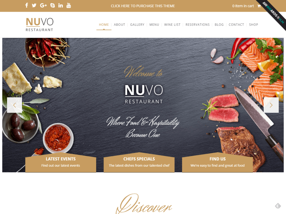 NUVO - Cafe & Restaurant WordPress Theme - Multiple Restaurant & Bistro Demos - Premium - Free Restaurant WordPress Themes