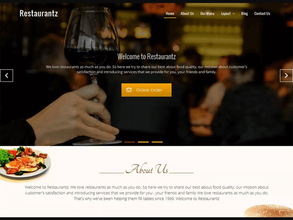 Restaurantz - Free Restaurant WordPress Themes