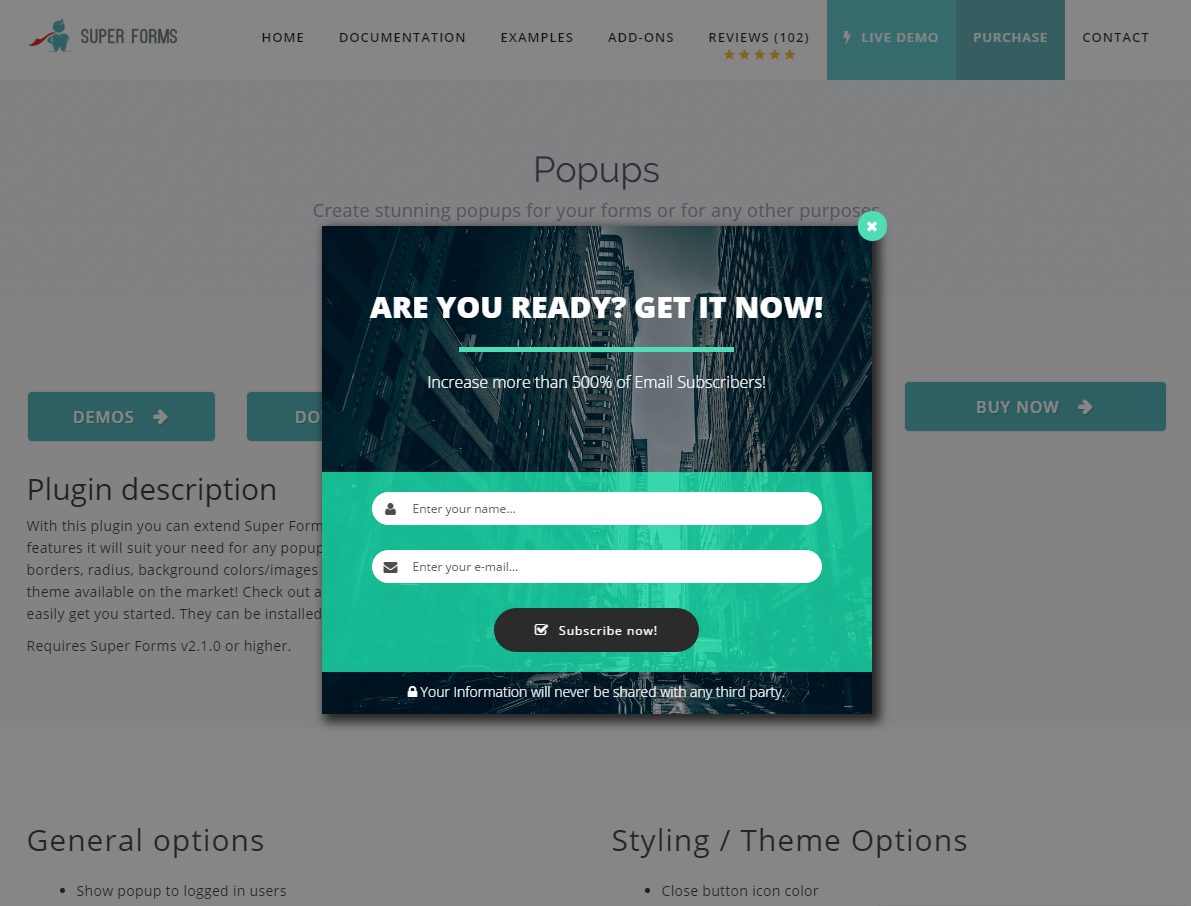 Super Forms - Popups Add-on