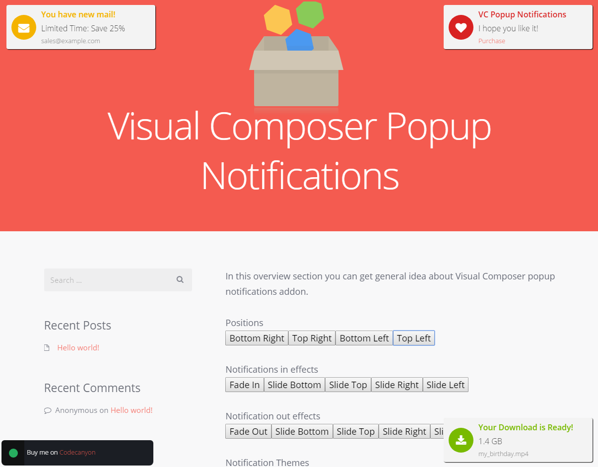 Visual Composer Popup Notifications
