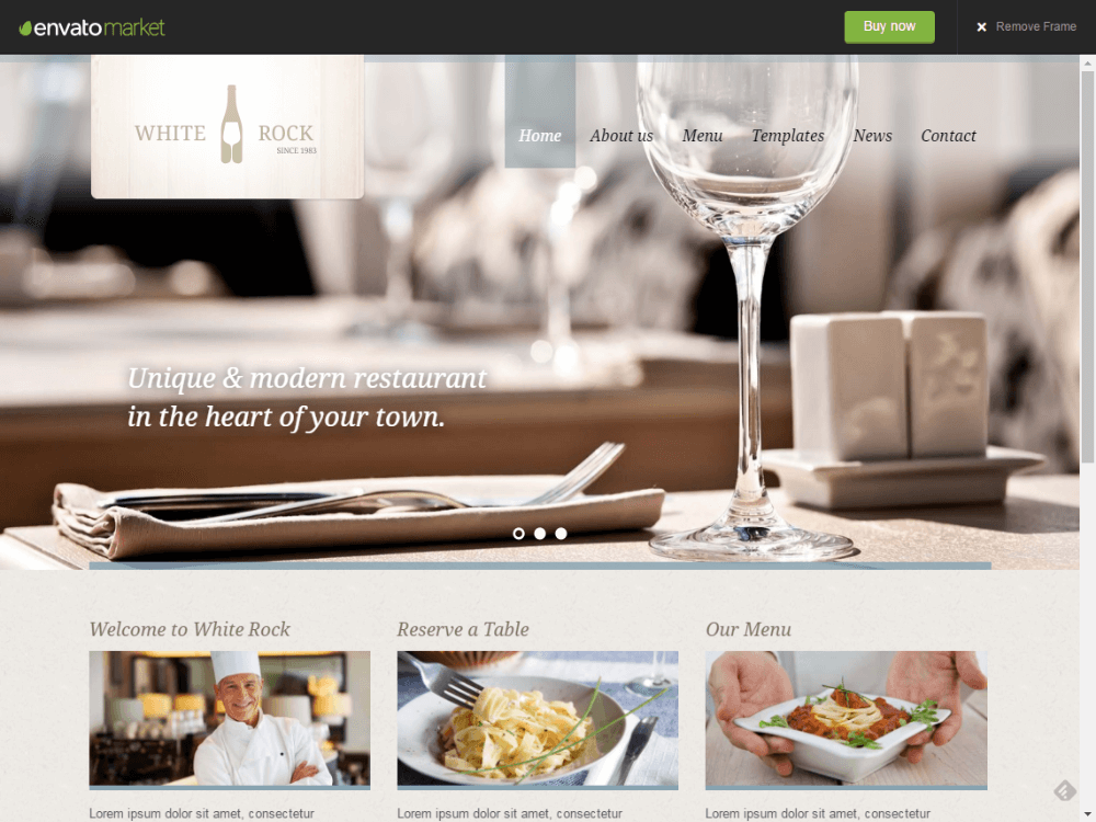 White Rock - Restaurant & Winery Theme - Premium - Free Restaurant WordPress Themes